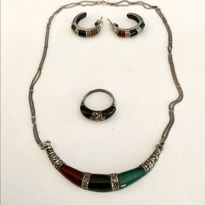 Jewelry - Sterling Silver Onyx Gemstone Set